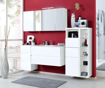 Badmöbel-Set CARDIFF - mit Waschtisch - 7-teilig - 205 cm breit - Hochglanz Weiß
