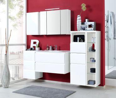 Badmöbel-Set CARDIFF - mit Waschtisch - 7-teilig - 185 cm breit - Hochglanz Weiß