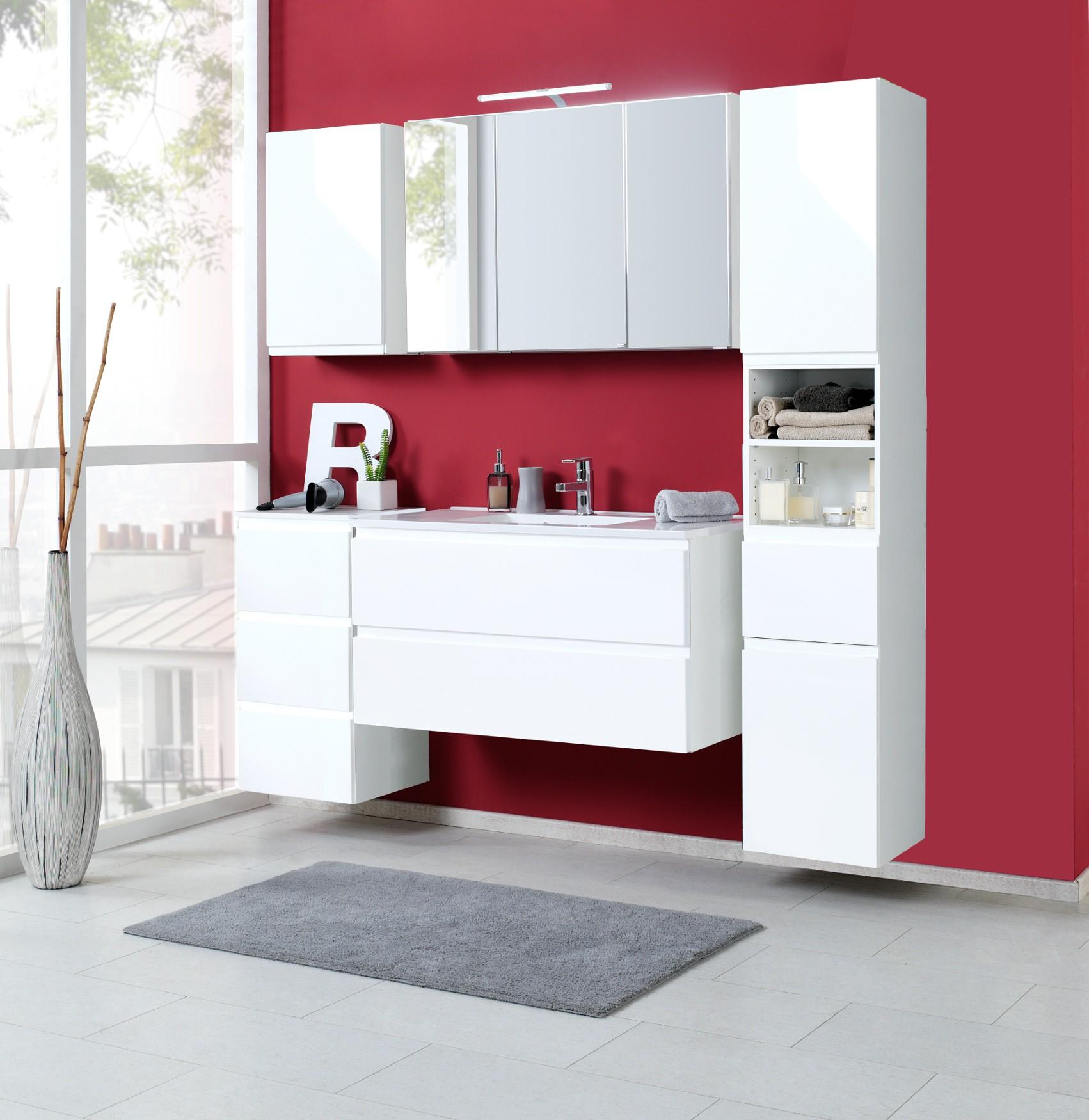 badm bel set cardiff mit waschtisch 7 teilig 180 cm breit hochglanz wei bad badm belsets. Black Bedroom Furniture Sets. Home Design Ideas