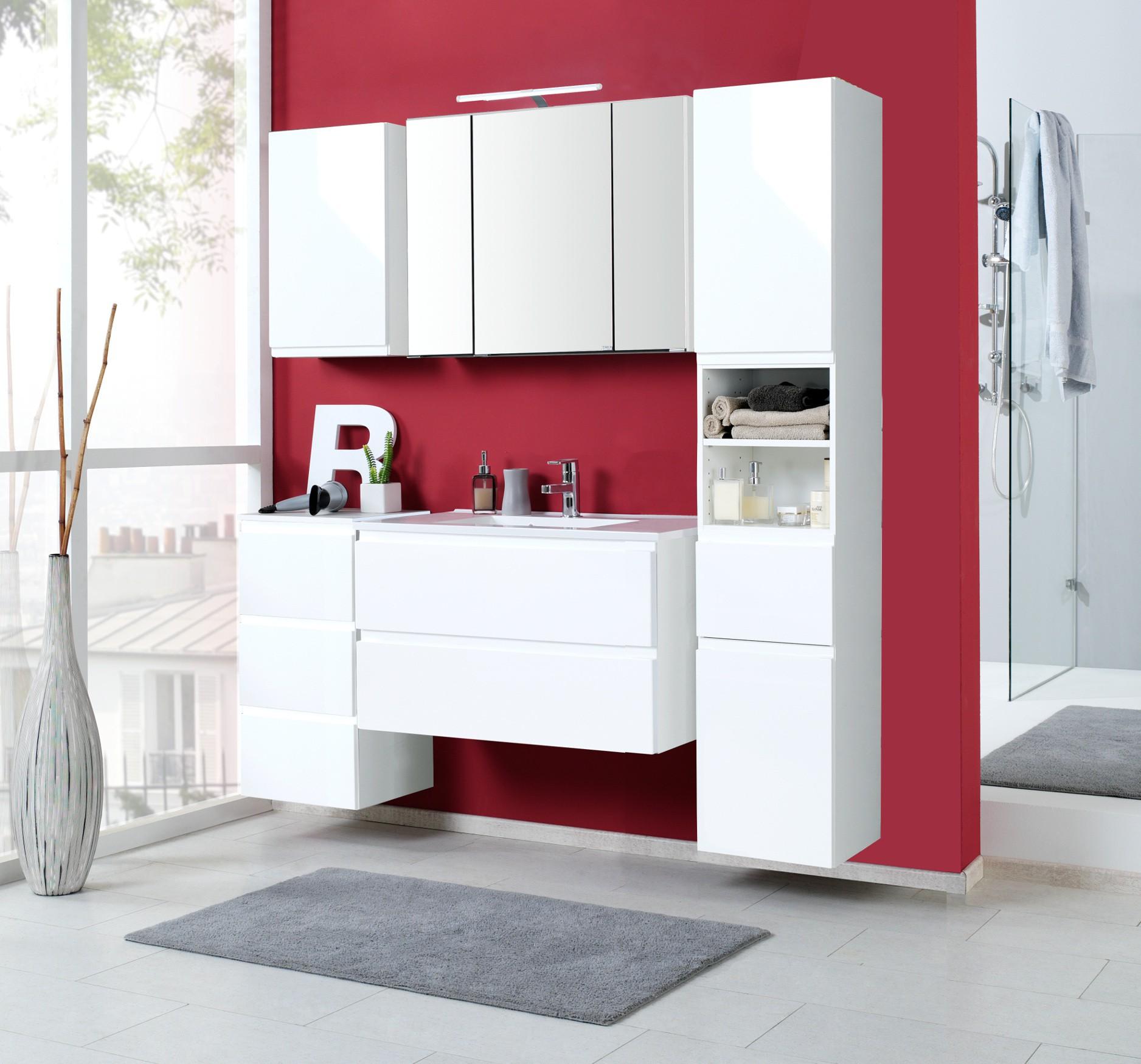 badm bel set cardiff mit waschtisch 7 teilig 160 cm breit hochglanz wei bad badm belsets. Black Bedroom Furniture Sets. Home Design Ideas