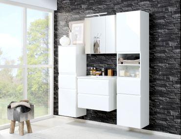 Badmöbel-Set CARDIFF - mit Waschtisch - 6-teilig - 140 cm breit - Hochglanz Weiß