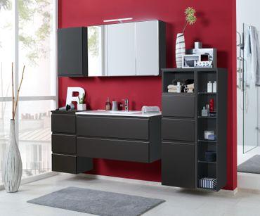 Badmöbel-Set CARDIFF - mit Waschtisch - 7-teilig - 205 cm breit - Hochglanz Grau