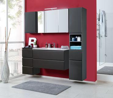 Badmöbel-Set CARDIFF - mit Waschtisch - 7-teilig - 180 cm breit - Hochglanz Grau