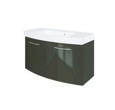 Bad-Waschtisch FLORIDA - 2 Türen - 100 cm breit - Hochglanz Grau / Graphitgrau