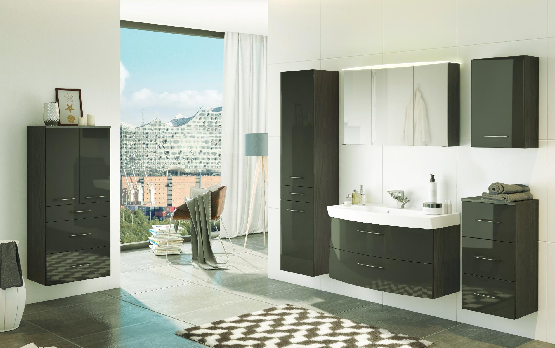 bad midischrank florida 2 t rig 65 cm breit hochglanz grau graphitgrau bad bad midischr nke. Black Bedroom Furniture Sets. Home Design Ideas