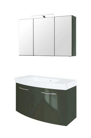 Badmöbel-Set FLORIDA - 4-teilig - 100 cm breit - 2 Türen - Hochglanz Grau