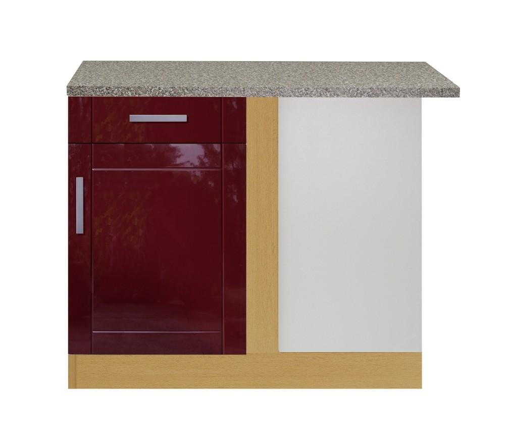 Küchen-Eckunterschrank VAREL - 1-türig - 110 cm breit - Hochglanz ...