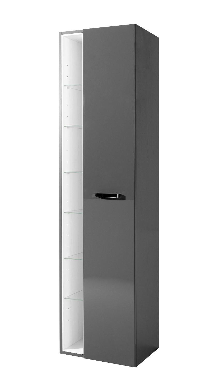 Bad hochschrank ancona 1 t rig 7 regalf cher 45 cm breit hochglanz grau bad bad hochschr nke for Bad hochschrank 50 cm breit