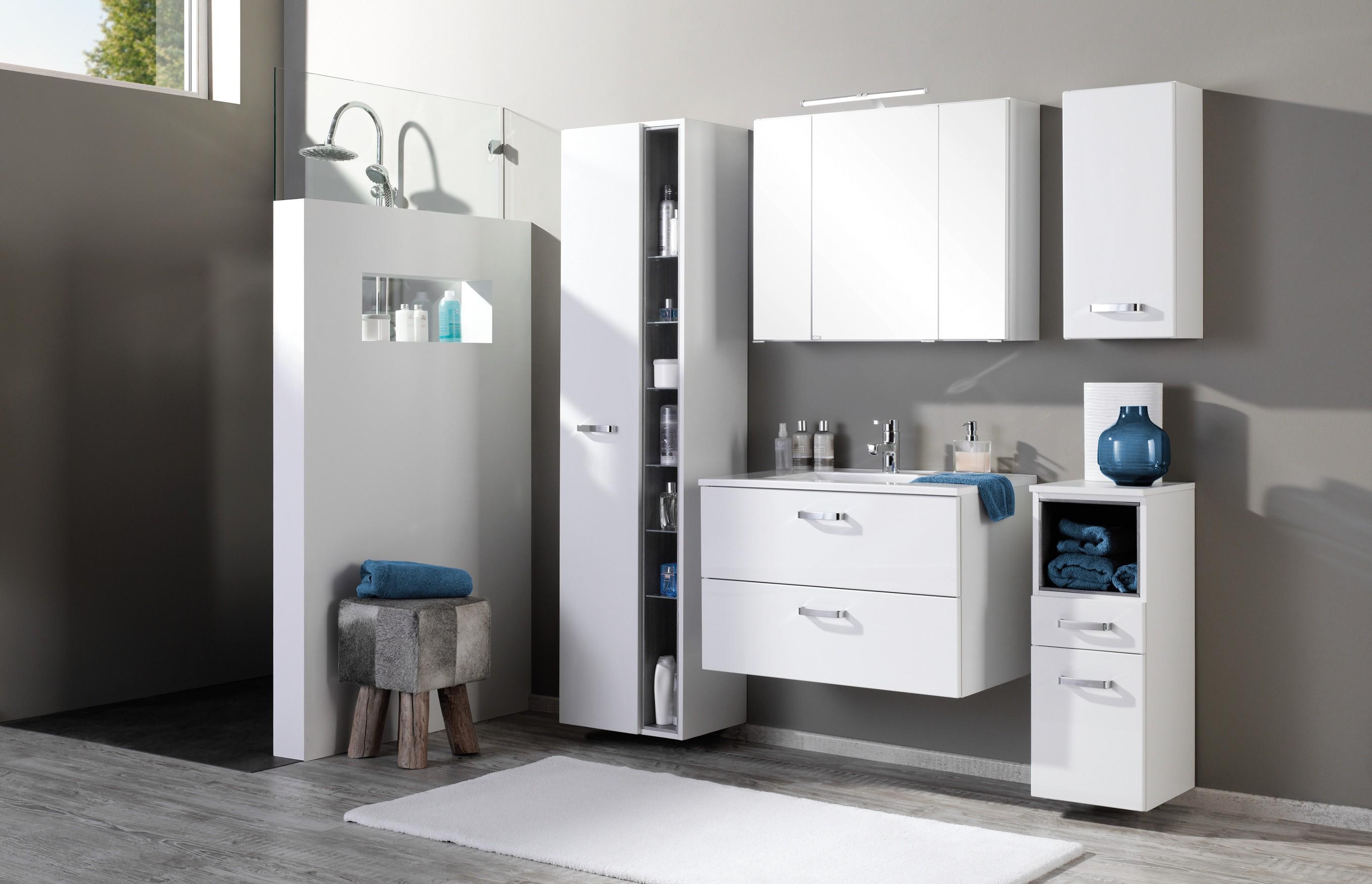 bad waschtisch ancona 2 ausz ge 80 cm breit hochglanz wei bad waschtische. Black Bedroom Furniture Sets. Home Design Ideas