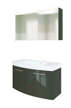Badmöbel-Set FLORIDA - 3-teilig - 100 cm breit - 2 Türen - Hochglanz Grau