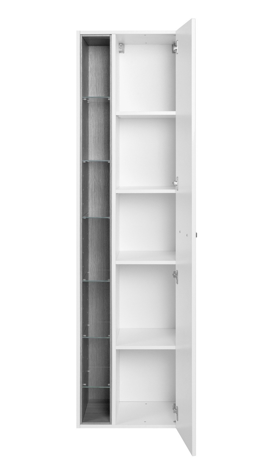 bad hochschrank ancona 1 t rig 7 regalf cher 45 cm breit hochglanz wei bad bad hochschr nke. Black Bedroom Furniture Sets. Home Design Ideas