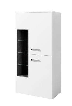 Bad-Midischrank ANCONA - 2-türig, 4 Regalfächer - 65 cm breit - Hochglanz Weiß