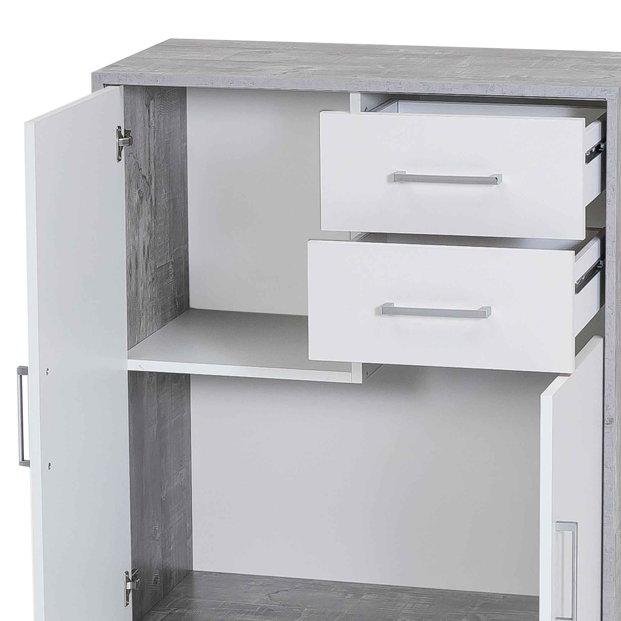 kommode uta 2 t rig 2 schubladen 73 cm breit wei beton grau wohnen sideboards. Black Bedroom Furniture Sets. Home Design Ideas