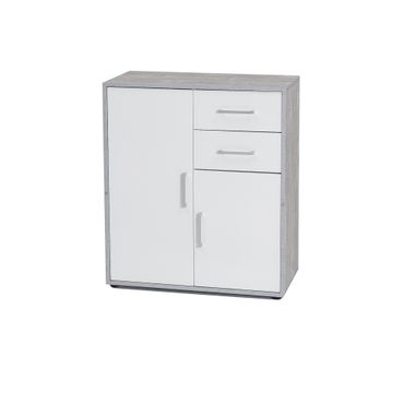 Kommode UTA - 2-türig, 2 Schubladen - 73 cm breit - Weiß / Beton-Grau