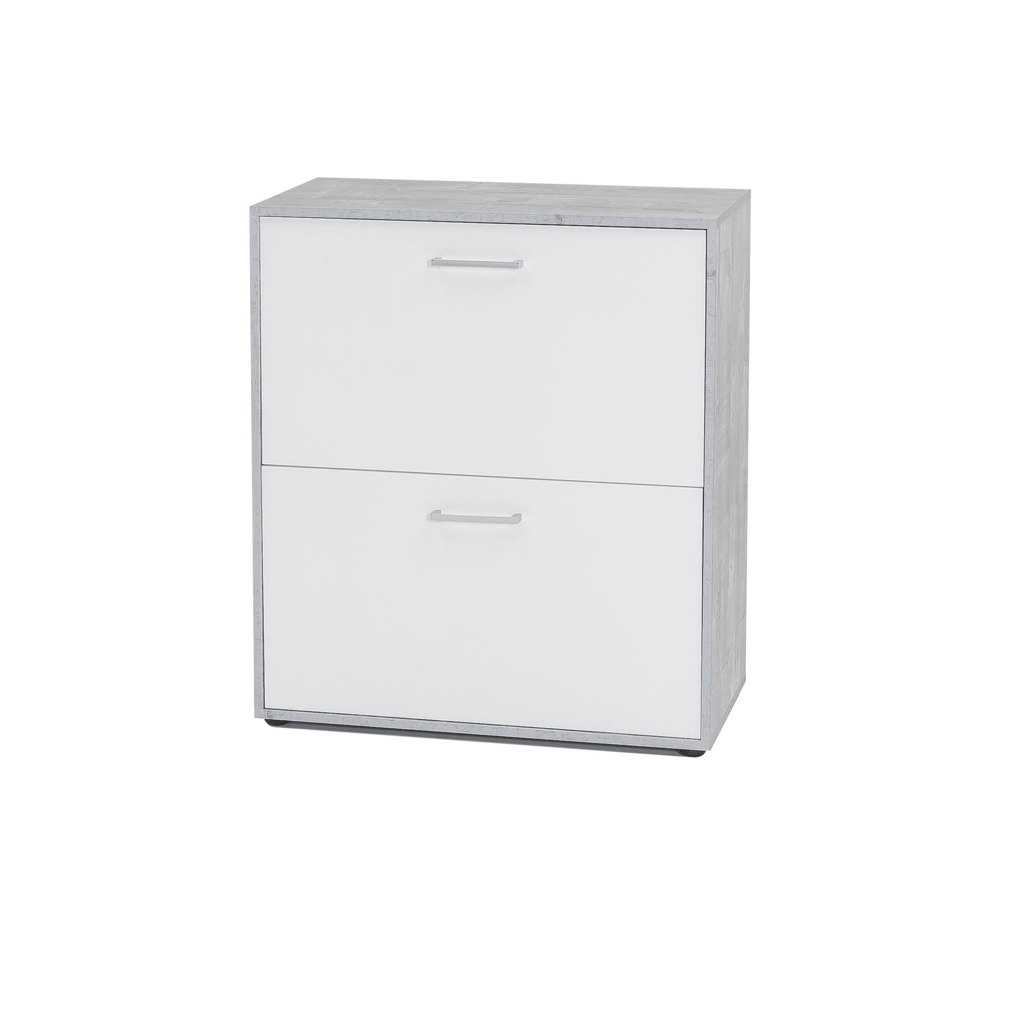 schuhschrank uta f r bis zu 12 paar schuhe 73 cm breit wei beton grau wohnen schuhschrank. Black Bedroom Furniture Sets. Home Design Ideas