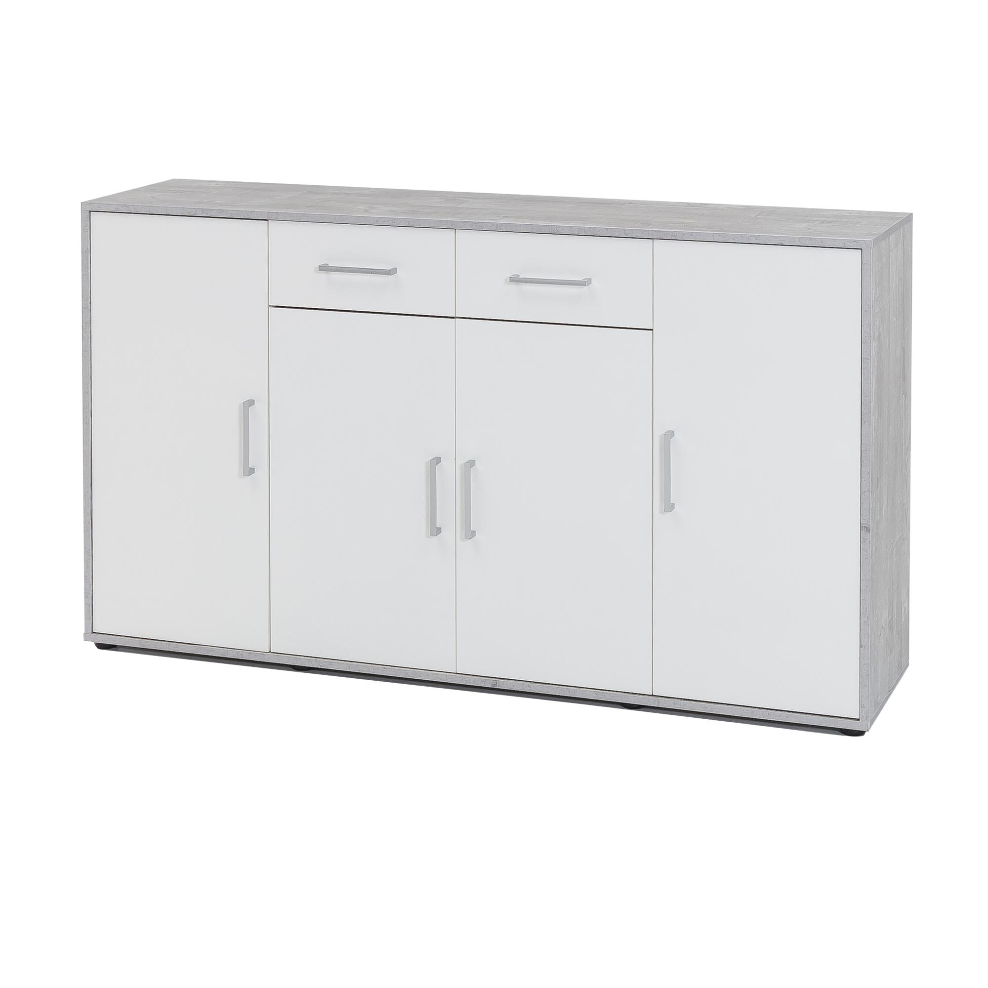 Kommode Schrank Sideboard Anrichte Turen Schubladen 143 Cm Weiss
