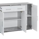 Kommode UTA - 4-türig, 2 Schubladen - 143 cm breit - Weiß / Beton-Grau