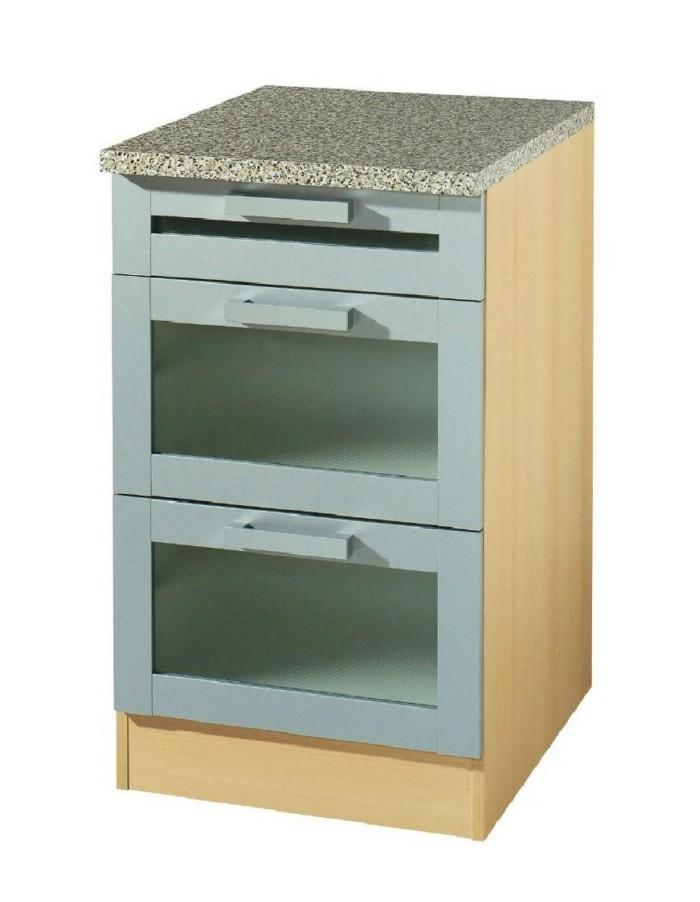 Küchen-Unterschrank VAREL - Glas - 3 Schubladen - 50 cm breit ...