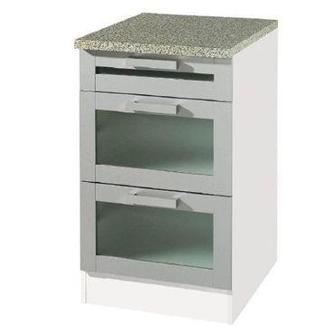 Küchen-Unterschrank VAREL - Glas - 3 Schubladen - 50 cm breit - Silber/Weiß