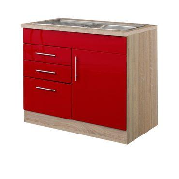 Küchen-Spülenschrank BERLIN - 1-türig, 1 Auszug, 2 Schubladen - Breite 100 cm, Tiefe 60 cm - Hochglanz Rot / Eiche Sonoma