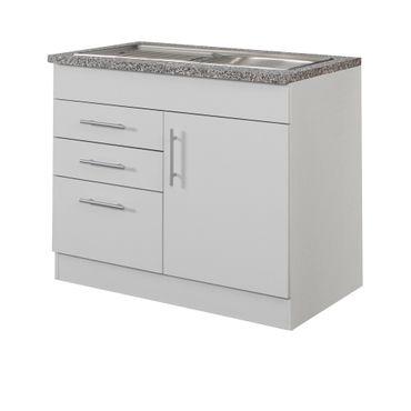 Küchen-Spülenschrank BERLIN - 1-türig, 1 Auszug, 2 Schubladen - Breite 100 cm, Tiefe 60 cm - Weiß