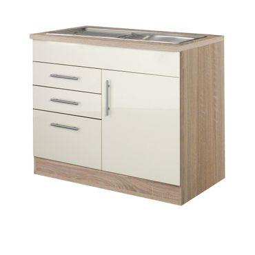 Küchen-Spülenschrank BERLIN - 1-türig, 1 Auszug, 2 Schubladen - Breite 100 cm, Tiefe 60 cm - Hochglanz Creme / Eiche Sonoma