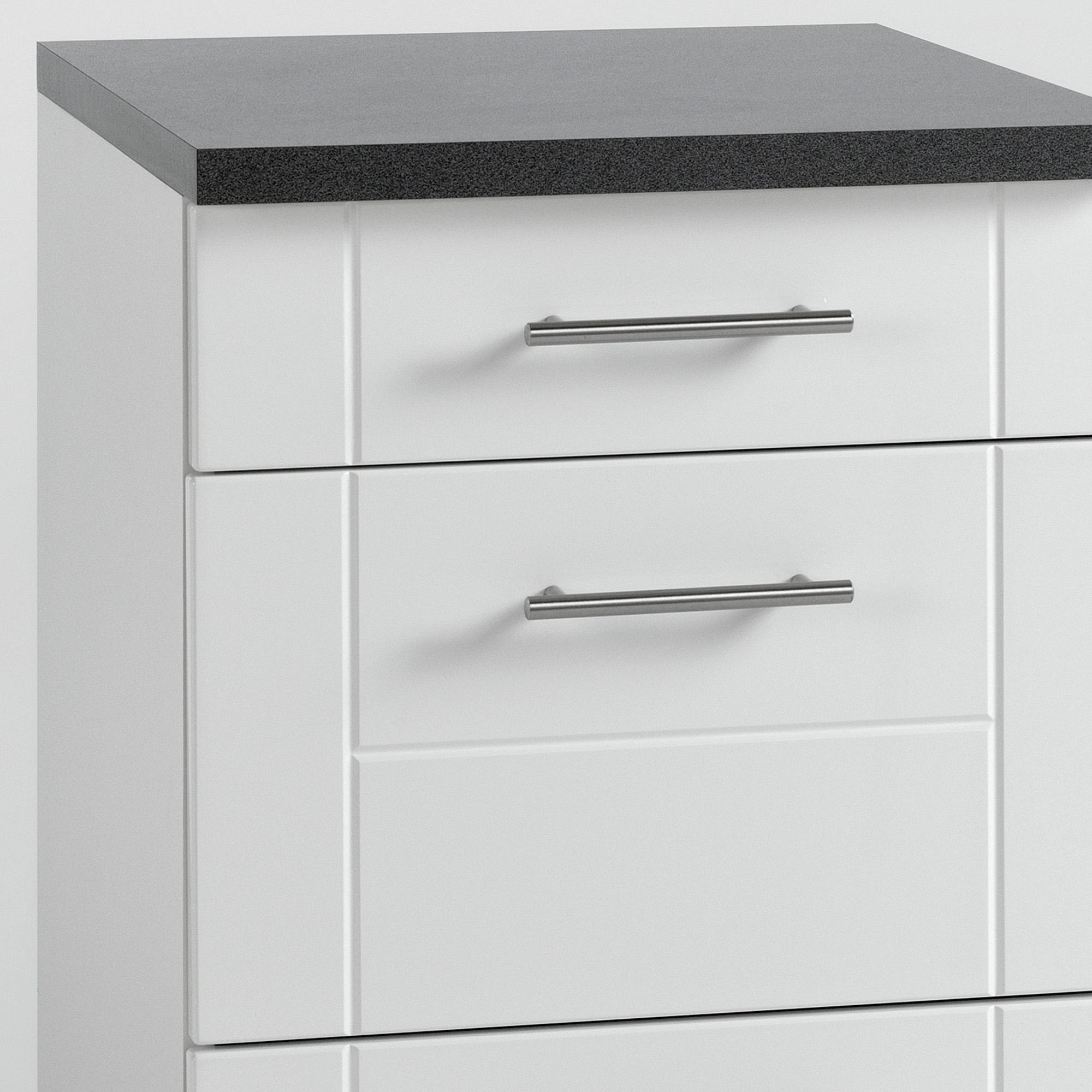 Küchen-Unterschrank NEVADA - 17 Schubladen - 17 cm breit - Hochglanz Weiß