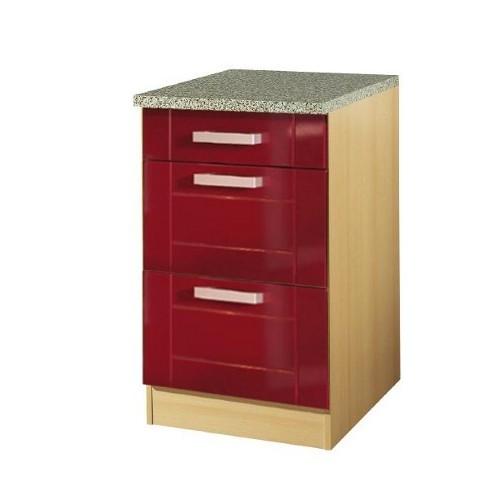 k chen unterschrank varel 3 schubladen 50 cm breit hochglanz bordeaux rot k che k chen. Black Bedroom Furniture Sets. Home Design Ideas