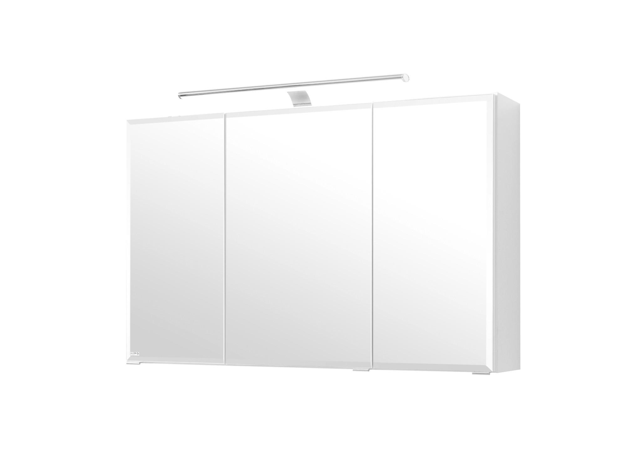 Bad spiegelschrank 3 t rig mit led aufbauleuchte 100 for Spiegelschrank 100 cm led