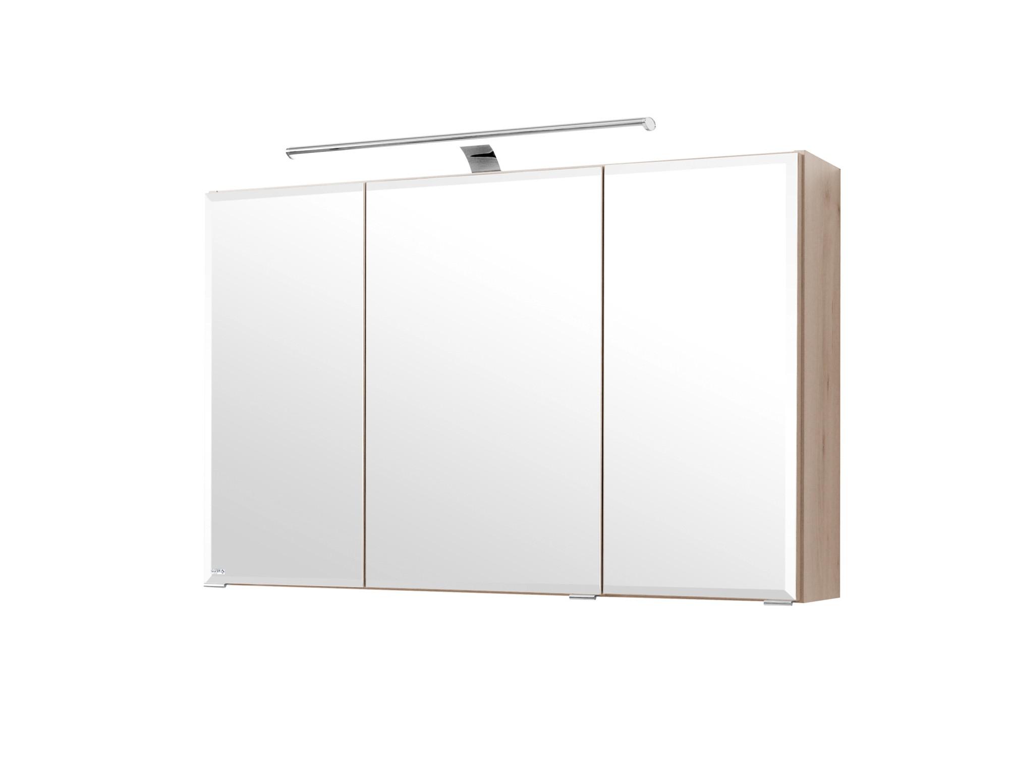 Bad Spiegelschrank - 3-türig, mit LED-Aufbauleuchte - 100 cm breit ...