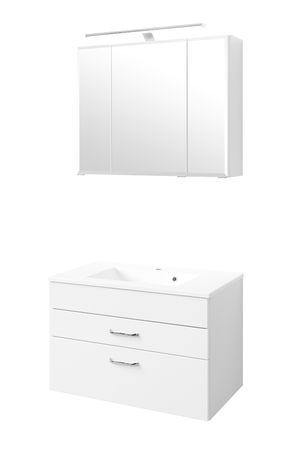 Badmöbel-Set FONTANA - mit Waschtisch - 4-teilig - 80 cm breit - Weiß