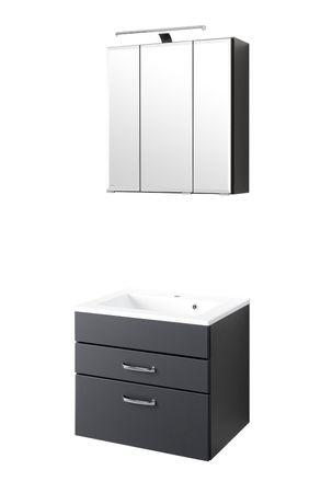 Badmöbel-Set FONTANA - mit Waschtisch - 4-teilig - 60 cm breit - Anthrazit