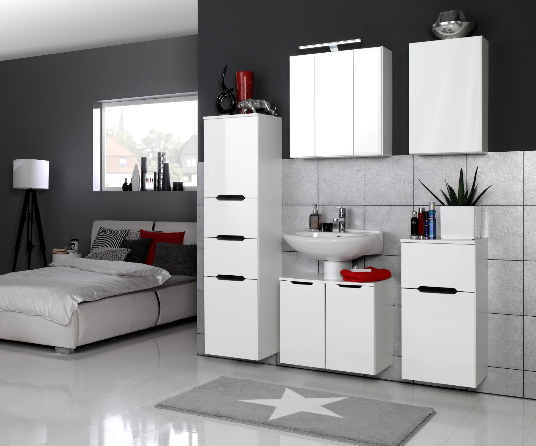 bad h ngeschrank belluno 1 t rig 40 cm breit hochglanz wei bad bad h ngeschr nke. Black Bedroom Furniture Sets. Home Design Ideas