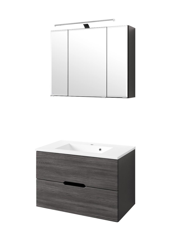 badm bel set belluno mit waschtisch 4 teilig 80 cm breit l rche anthrazit mit. Black Bedroom Furniture Sets. Home Design Ideas