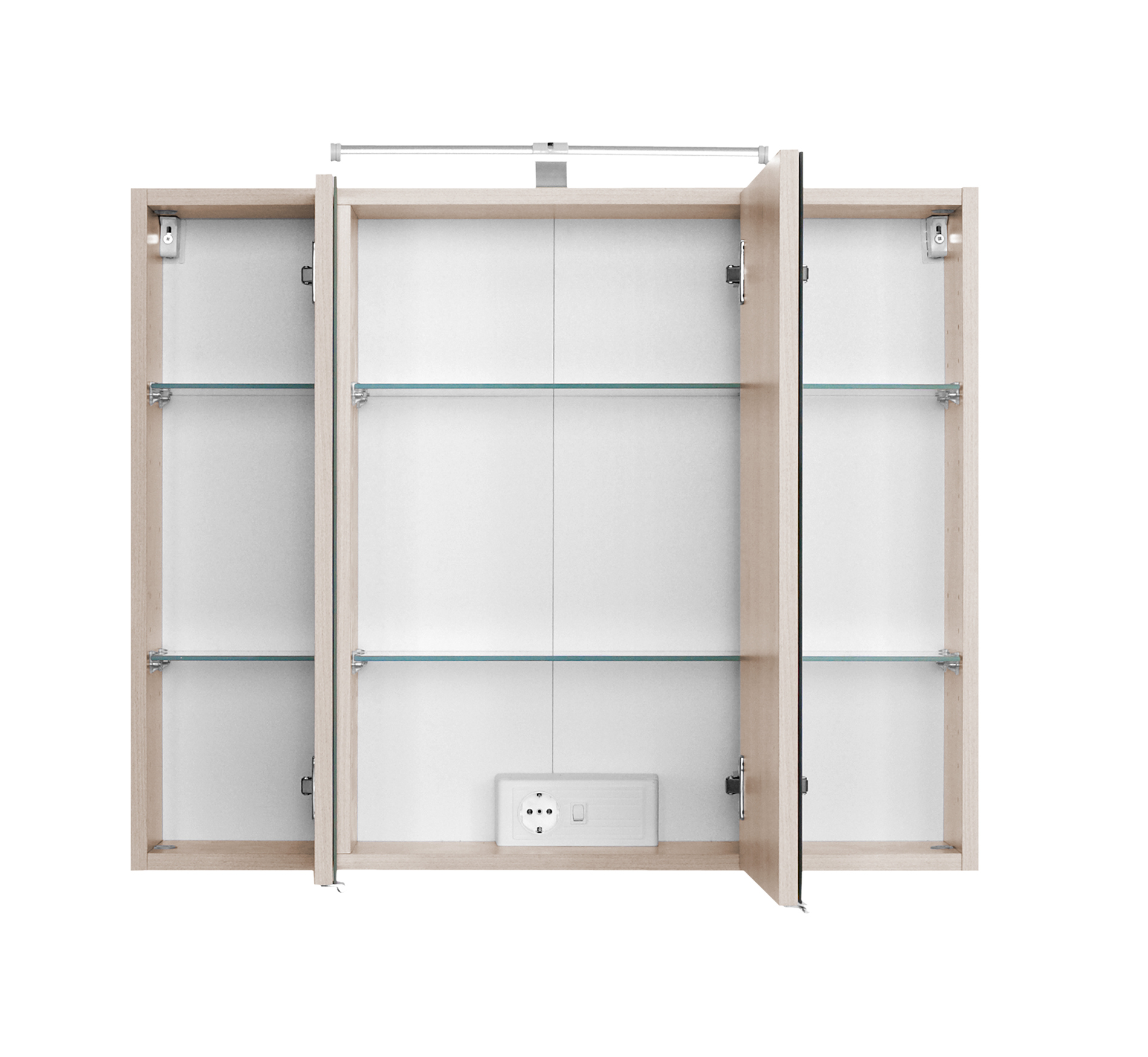 badezimmer 3d spiegelschrank badspiegel mit led aufbauleuchte 3 t ren 80cm buche ebay. Black Bedroom Furniture Sets. Home Design Ideas