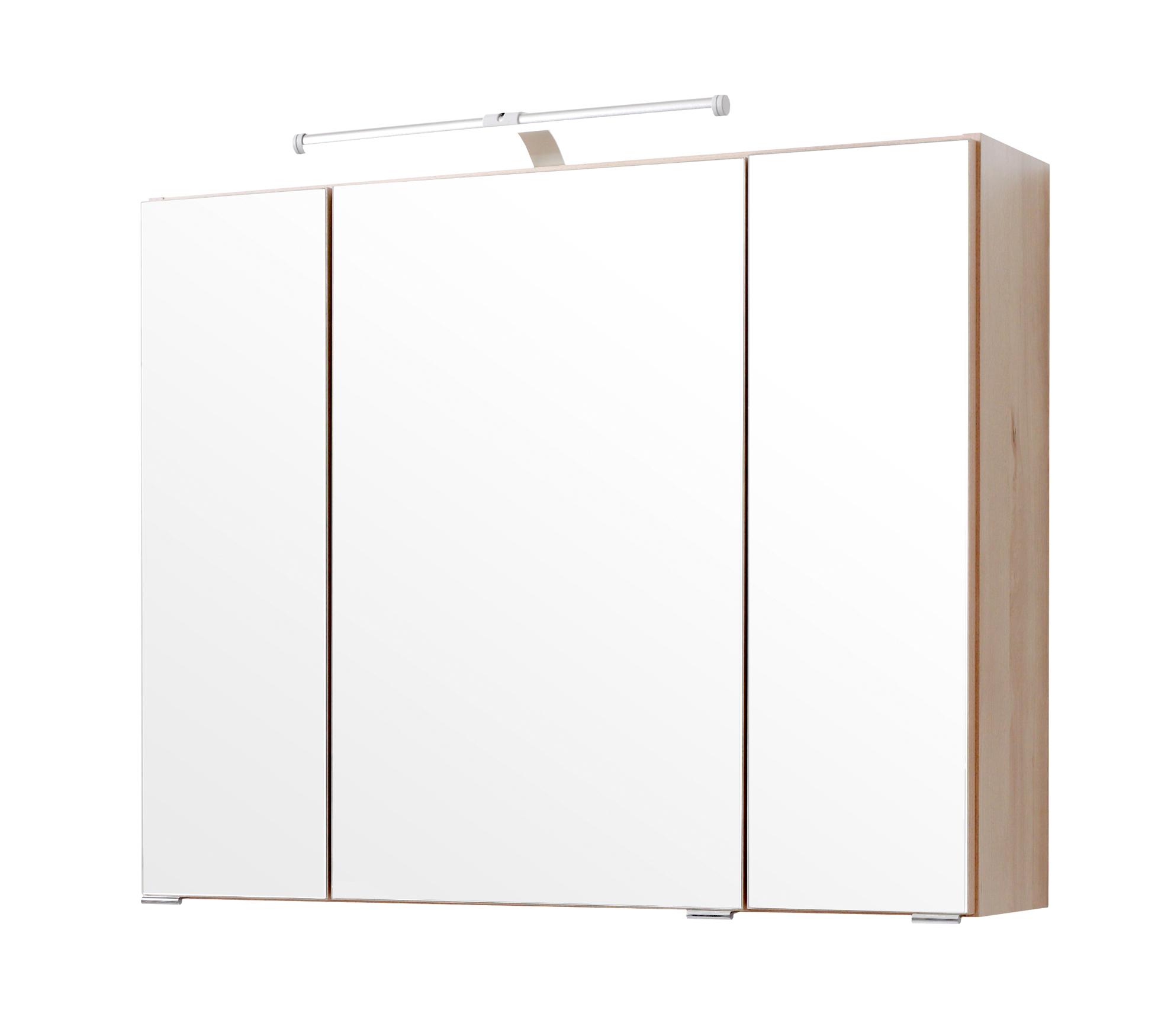 Großartig Badezimmer Spiegelschrank Mit Beleuchtung Galerie Von Bad-spiegelschrank - 3-türig, - 80 Cm Breit