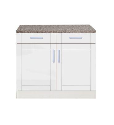 Küchen-Unterschrank VAREL - 2-türig - 100 cm breit - Hochglanz Weiß