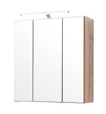 Bad-Spiegelschrank - 3-türig, mit Beleuchtung - 60 cm breit - Buche Iconic