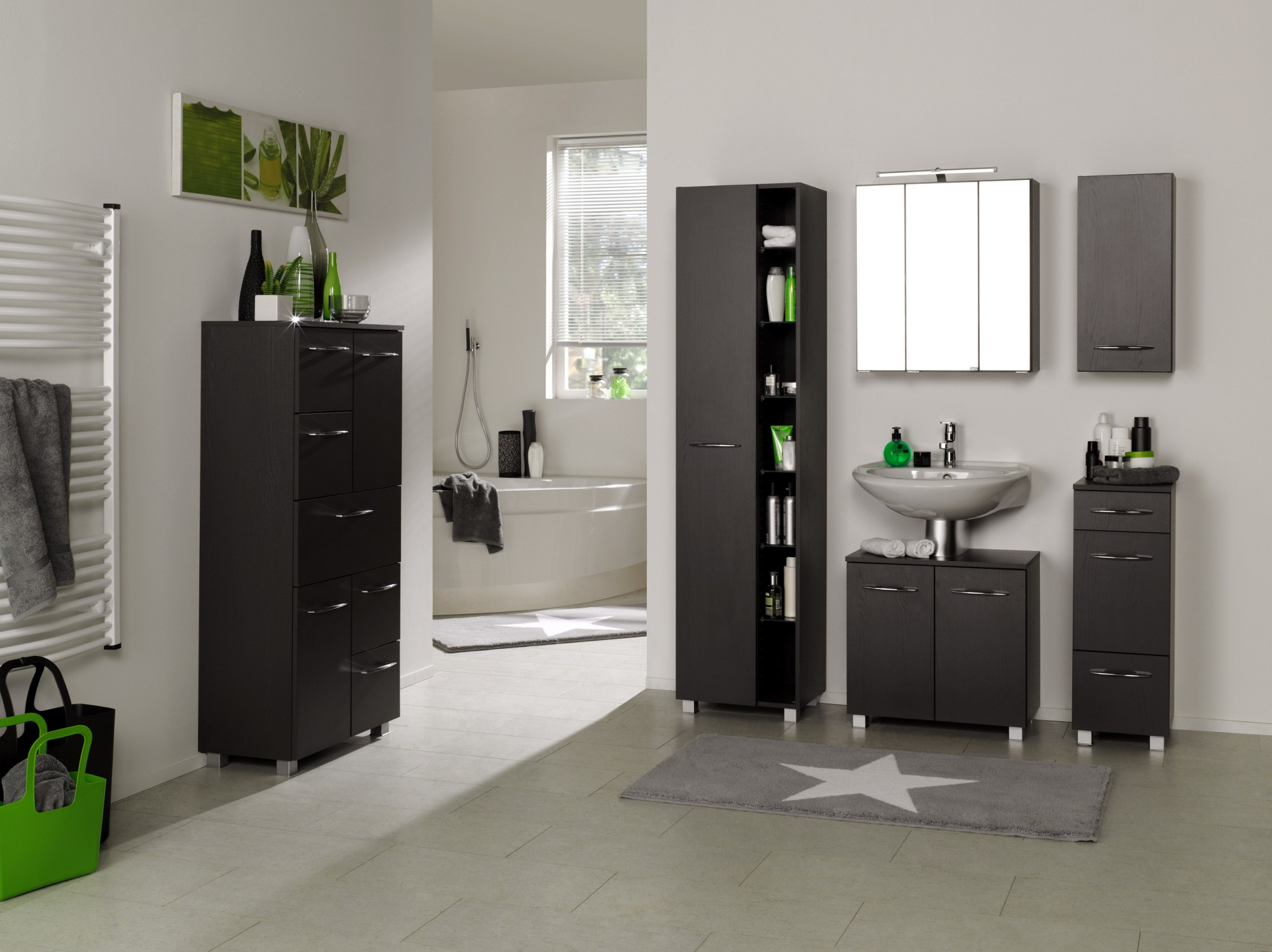 badezimmer midischrank portofino highboard badm bel badschrank 60cm graphit grau 4250163751493. Black Bedroom Furniture Sets. Home Design Ideas