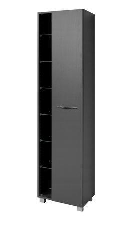 Bad-Hochschrank PORTOFINO - 1-türig, 7 Regalfächer - 45 cm breit - Graphitgrau