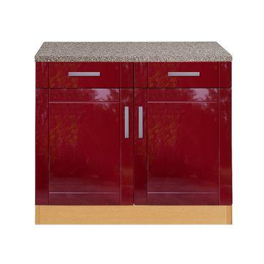 Küchen-Unterschrank VAREL - 2-türig - 100 cm breit - Hochglanz Bordeaux Rot