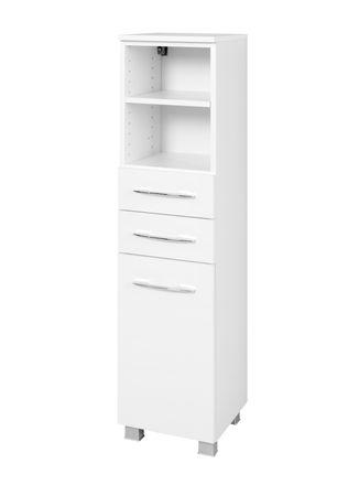 Bad-Midischrank PORTOFINO - 1-türig, 2 Schubkästen - 30 cm breit - Weiß
