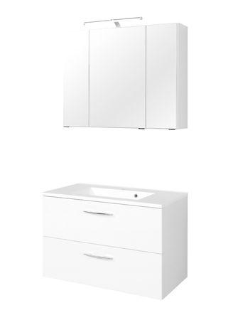 Badmöbel-Set PORTOFINO - mit Waschtisch - 4-teilig - 80 cm breit - Weiß