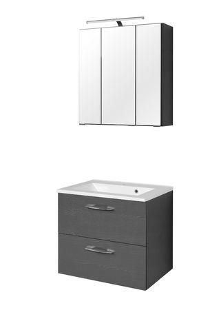 Badmöbel-Set PORTOFINO - mit Waschtisch - 4-teilig - 60 cm breit - Graphitgrau