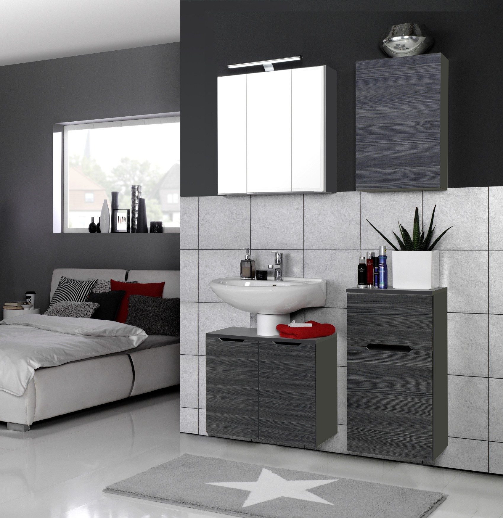 badm bel set belluno 5 teilig 100 cm breit l rche anthrazit mit echtholzstruktur bad. Black Bedroom Furniture Sets. Home Design Ideas