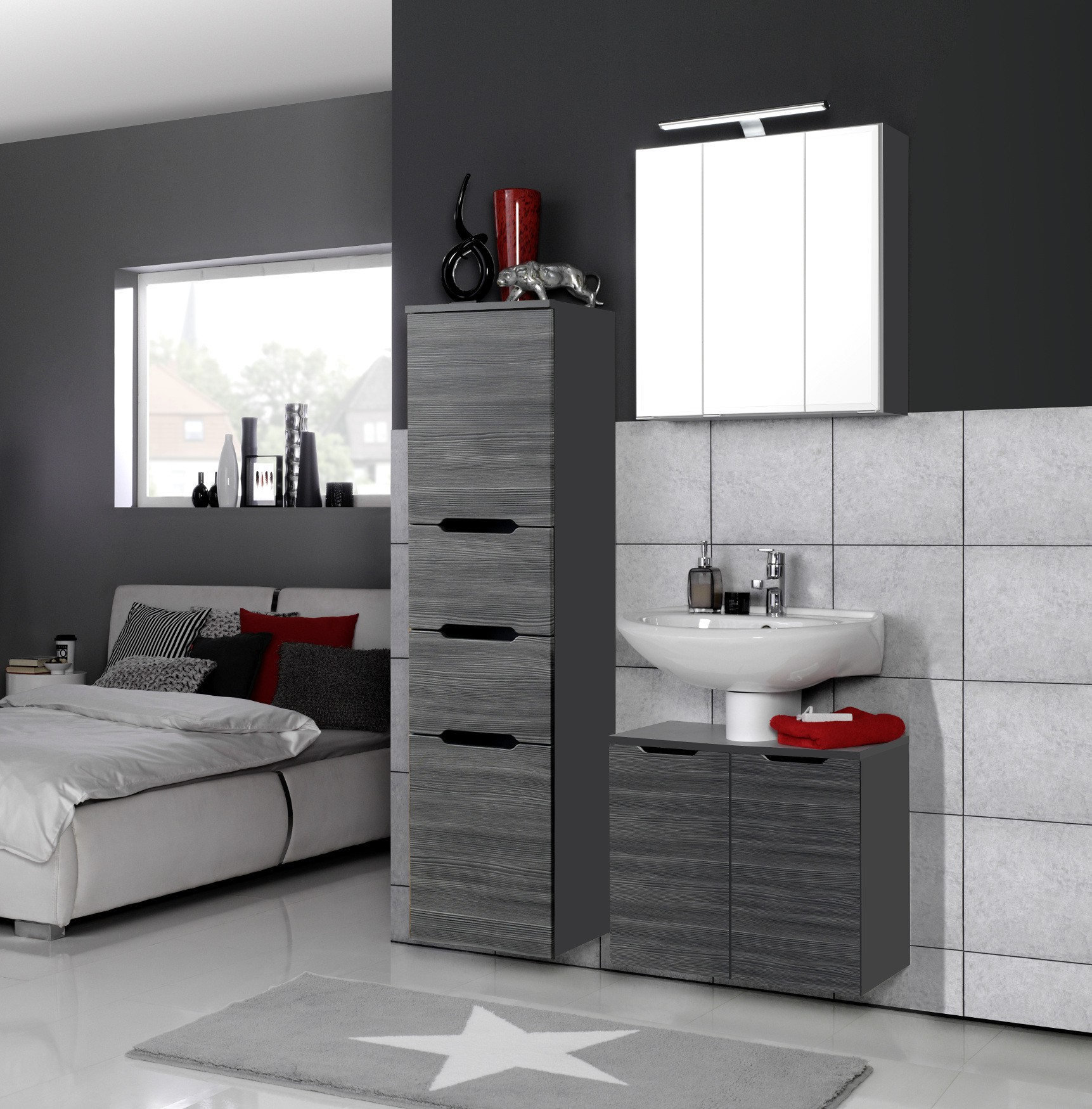 badm bel set belluno 4 teilig 100 cm breit l rche anthrazit mit echtholzstruktur bad. Black Bedroom Furniture Sets. Home Design Ideas