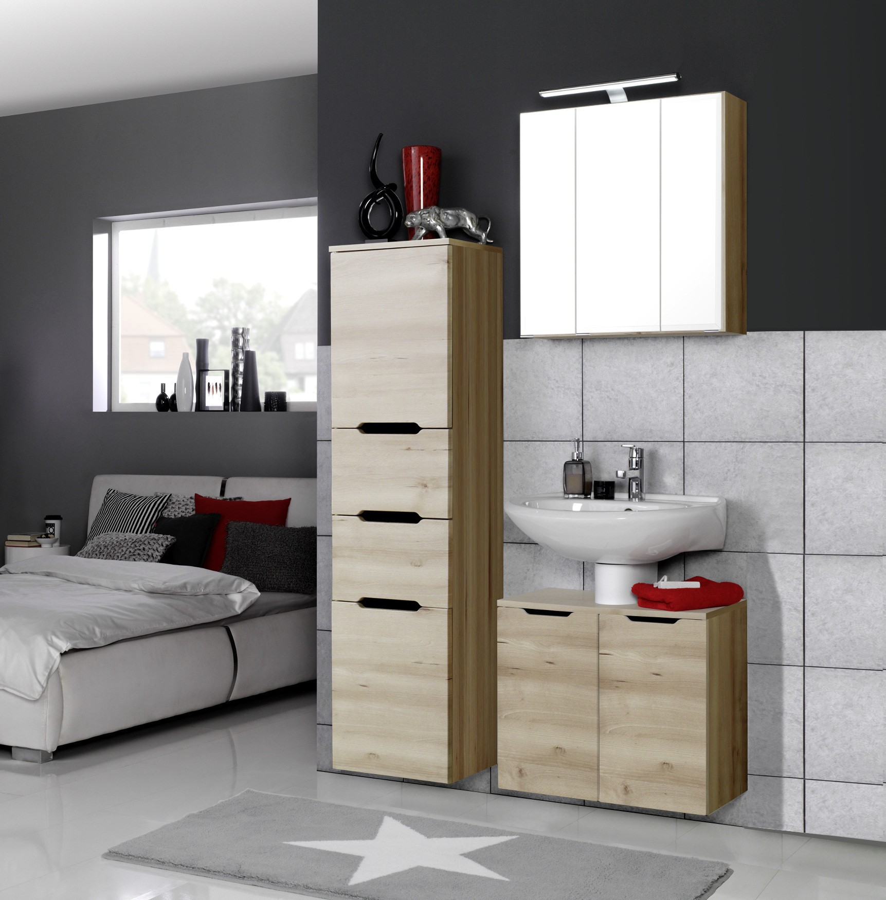 badm bel set belluno 4 teilig 100 cm breit buche. Black Bedroom Furniture Sets. Home Design Ideas