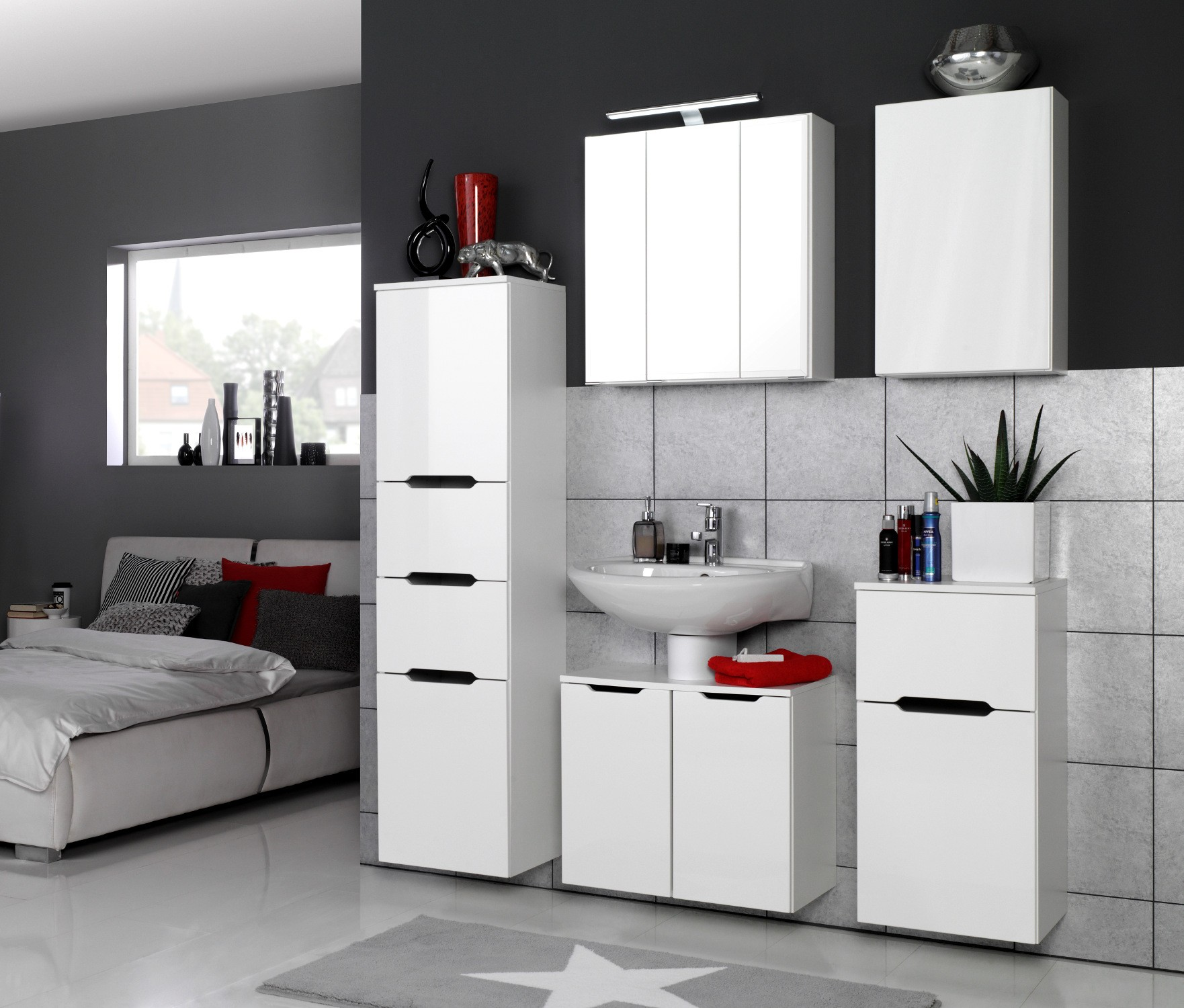 badm bel set belluno 6 teilig 140 cm breit hochglanz wei bad badm belsets. Black Bedroom Furniture Sets. Home Design Ideas