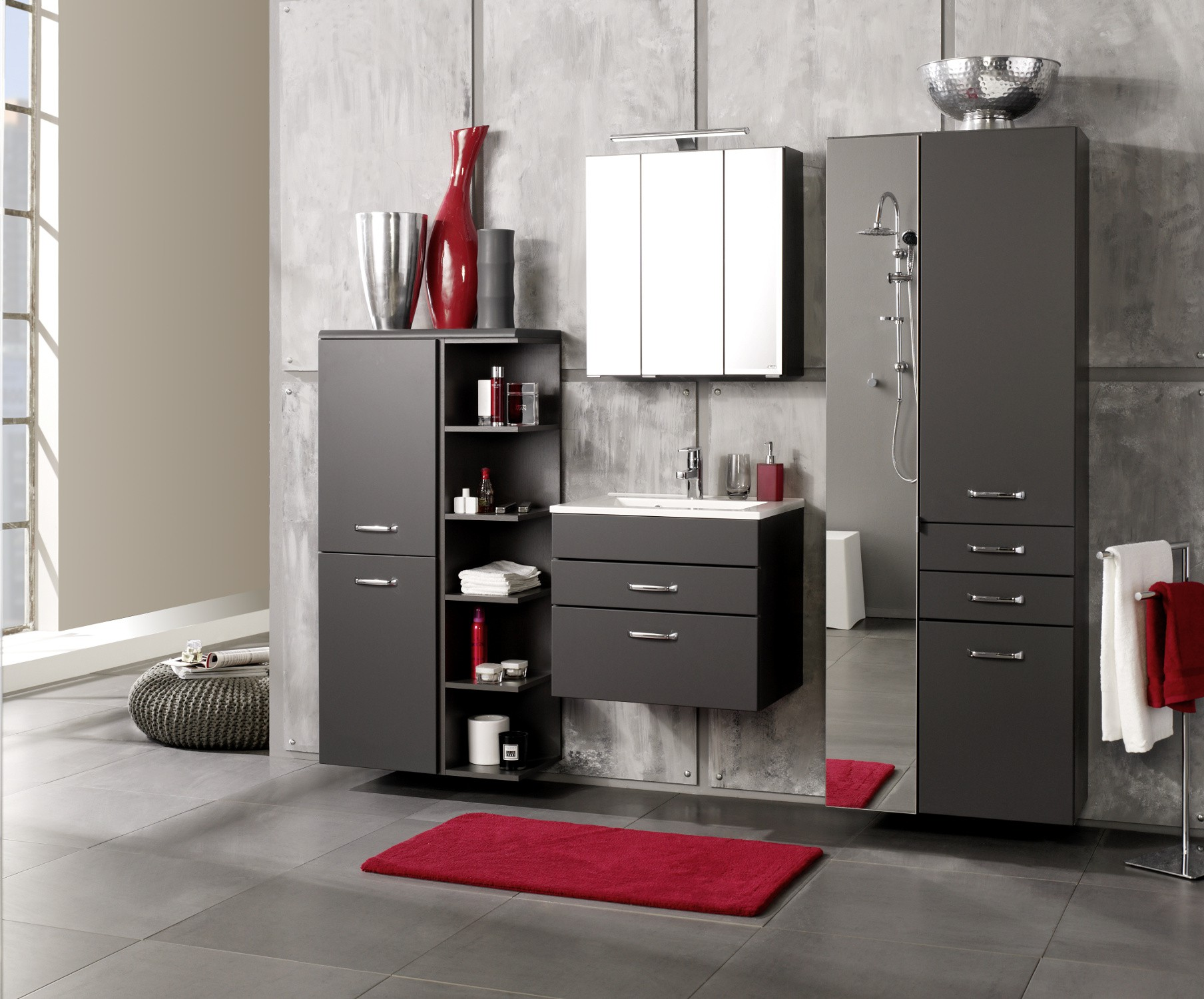badm bel set fontana mit waschtisch 6 teilig 190 cm. Black Bedroom Furniture Sets. Home Design Ideas