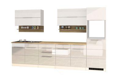 Küchenzeile HAMBURG - Küchen-Leerblock - Breite 320 cm - Hochglanz Weiß / Weiß